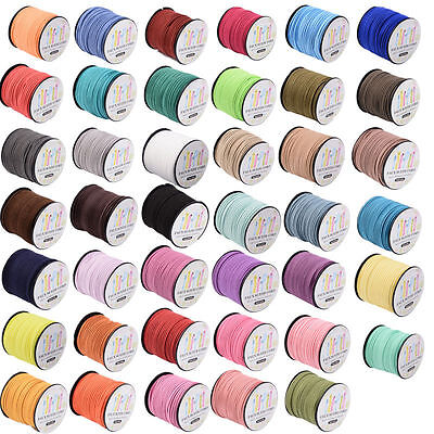 90m/roll Faux Suede Cord Thread 3mm Craft Jewellery Making Stringing 41 Colours