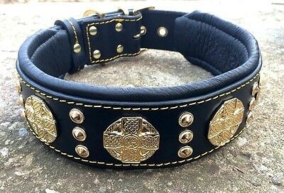 BESTIA studded leather collar. for Big and small dogs. HANDMADE. soft padded