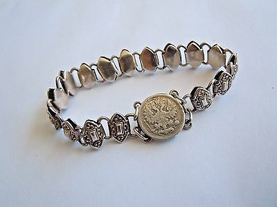 RUSSIAN Imperial Bracelet With Coin Solid Silver 84.Faberge design