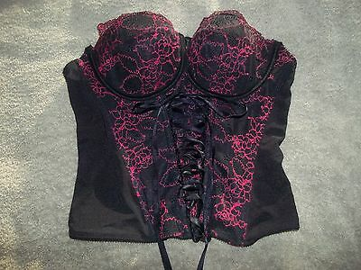 Ladies Ann Summers black & red lace bask/corset 34B