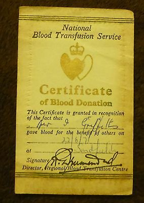 Vintage Certificate of blood donation 1971