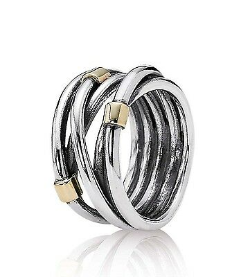 Pandora silver & 14k gold rope design ring - 190383 - size 60