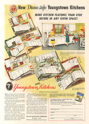 VTG 1950's Youngstown Kitchens CABINET Counter Custom Home Design Decorator Ad