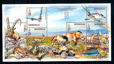 [40581] Mongolia 2001 Animals Wild life Horses Bat Hedgehog Frog MNH Sheet