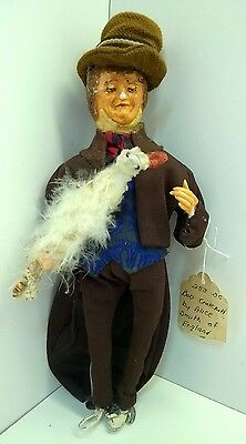 RARE VTG Composition Bob Cratchit Doll Holding A Chicken Alice Smith of England