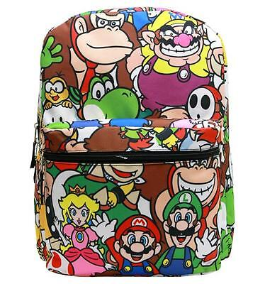 "NWT Super Mario Bros (Brothers) Backpack 16"" Large School Bag by Nintendo Print"