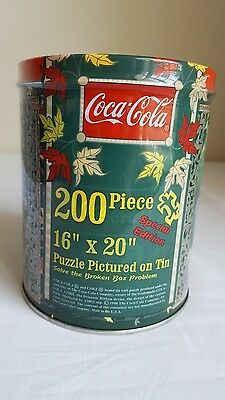 """NEW Coca-Cola 200 Piece Puzzle in SEALED Tin- Special Edition- 16"""" x 20""""- 1998"""