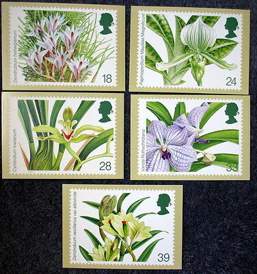 Royal Mail Stamp Postcard Series PHQ 151 Orchids Set of 5
