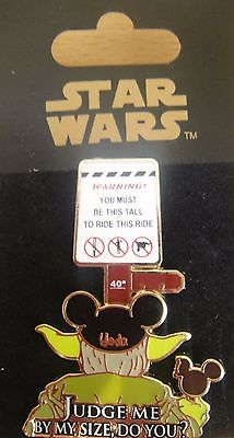 Disney Star Wars: Yoda Height Requirement Pin - # 59899 -  New on Card