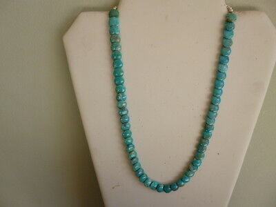 Turquoise Overlapping Coin Bead And Silver Native American Style Necklace