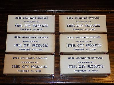 Vintage Lot of (6) Boxes of Steel City Products Standard Staples New Unused