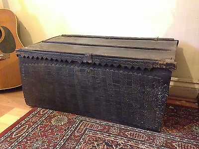 Antique African Tribal Wooden Chest Trunk Box Congo Kuba