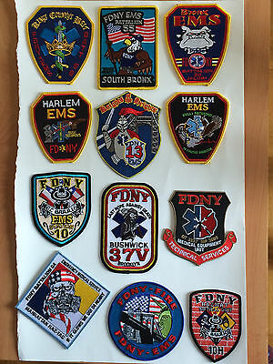 FDNY EMS Emergency Medical Services Patches.(12 Total)
