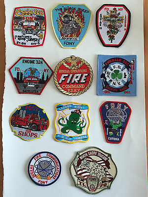 Collection Of 11 Various FDNY Patches.