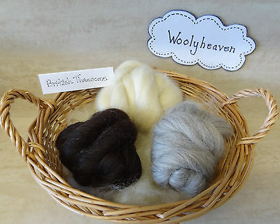 Roving Top British Breeds 3 Pack Naturals Needle Felting Spinning