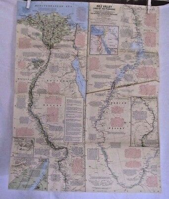 1965 National Geographic Map- The Nile Valley- Land of Pharaohs - 31 x 20 inches