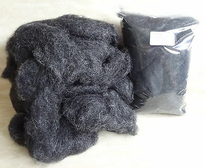Carded Wool - Corriedale Charcoal Grey 100g Needle Felting Spinning