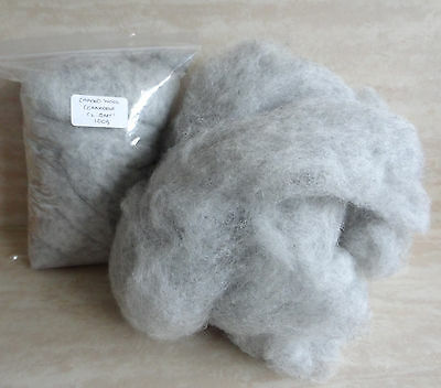 Carded Wool - Corriedale Light Grey 100g Needle Felting Spinning