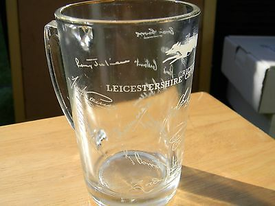 leicestershire cricketers small autographed glass tankard