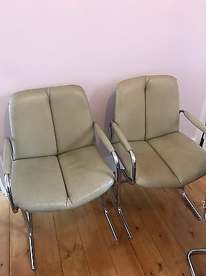 Vintage Retro Pieff Eleganza Dining Room Leather Beige Carver Chairs X2