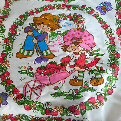 Vintage 1980 Strawberry Shortcake Twin Size Bedspread American Greetings Bedding