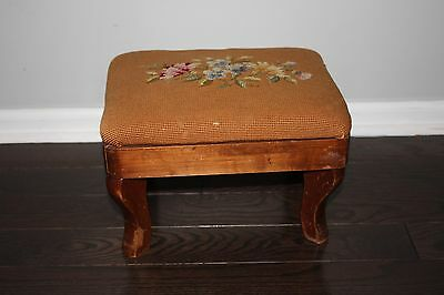 Vintage/antique Style Needlepoint/cross Stitch Small Foot Stool, Flowers