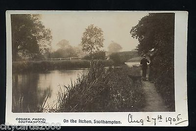 SOUTHAMPTON   On the Itchen - - view of RiverPerson on footpath    RP