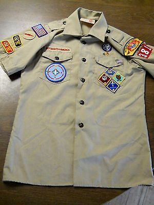 Boy Scouts of America Official Uniform Boy Scout Shirt with Patches - Youth sz L