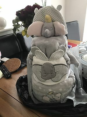 Cute Dumbo topped 3 tier Unisex Nappy Cake. Ideal new baby gift
