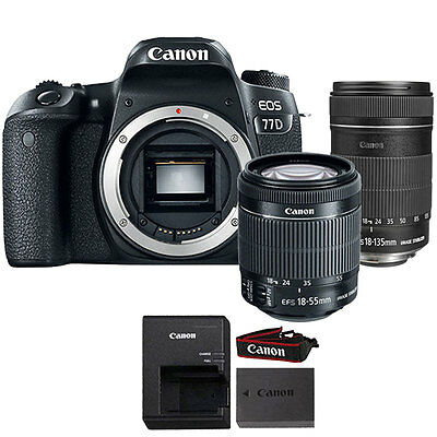 Canon EOS 77D 24.2MP DSLR Camera + Canon EF-S 18-135mm f/3.5 5.6 IS STM