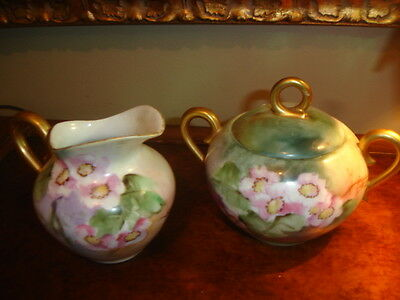 BN-144     Antique Early Vintage China Pottery Creamer & Sugar Floral Gold Trim