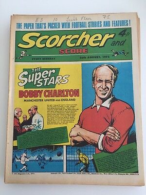 Scorcher and Score Comic 26 August 1973 Manchester United's Bobby Charlton