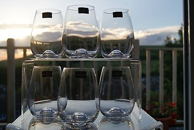 Dartington Crystal set of six red wine stemless wine glasses - all are boxed.