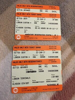 Tickets (x2 Adults) London Eus To Glasgow 3rd July 09:45 am