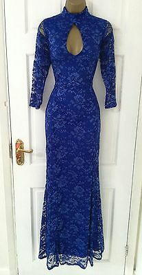 Ex Branded NEW Blue Lace Sleeves Fishtail Maxi Evening Party Dress Size 12