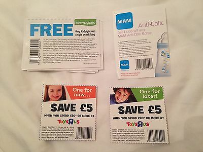 Vouchers worth £20.10 - Toys R Us, MAM, Kiddylicious