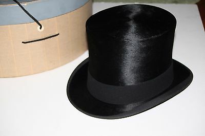 Antique Vintage Knox NY Wild & Co. Black Silk Plush Top Hat Sz 6-7/8 Steampunk