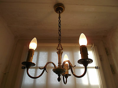 French chandelier 3 lights ornate patina bronze beautifully detailed vintage