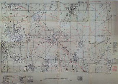 Somme Battlefield New WW1 trench map LONGUEVAL. Trones High Delville Woods