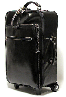 "Floto Venezia Trolley Luggage, 21"" Leather Rolling Carry on Suitcase"