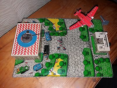 Vintage Rare Jet-Airport-1960-039-S-Tin-Toy-Wind-Up-Airplane-Cccp
