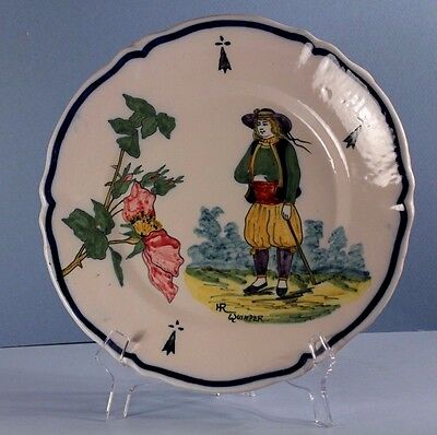 Antique HR QUIMPER French Faience Plate: Breton Man, Botanical Rose of Sharon