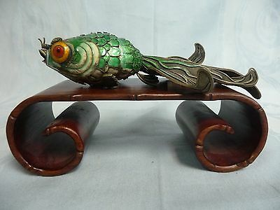 LARGE ANTIQUE CHINESE SILVER CLOISONNE ENAMEL FILIGREE ARTICULATED KOI w/STAND
