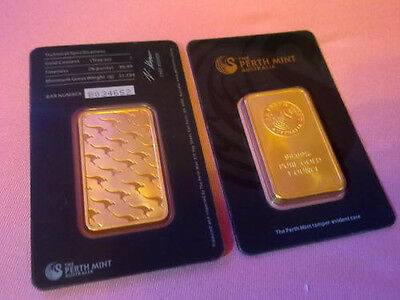 Gold Barren The Perth Mint Australia 1 oz Unze 99,99 % Deko Plated
