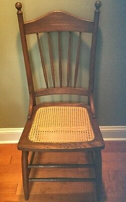 Antique Victorian Oak Pressed Back Dining Chair With Caned Seat