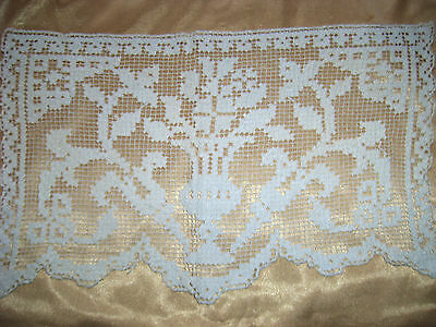 "Antique Crochet Lace Runner 15"" x 9"""