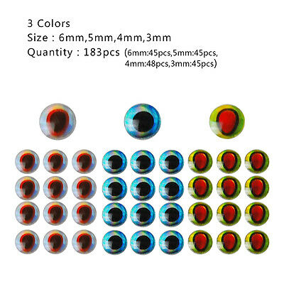 366pcs 3-6mm Fishing Lure Eyes 3D Holographic Eyes Fly Tying Jigs Crafts Doll