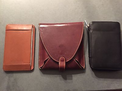 Levenger leather pen case, penvelope and pocket note case