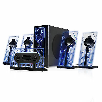 5.1 Surround Sound Computer Speakers with 80 Watts and Blue LED Glow Lights