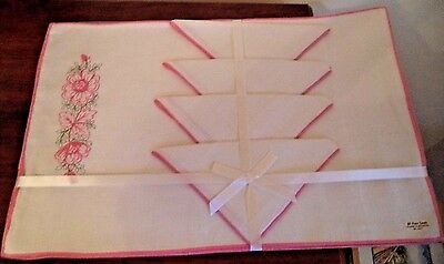 Vintage Linen Pink Floral Embroidered Victory Placemats & Napkin Set of 4 New